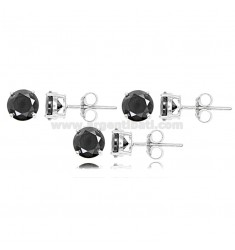 KIT PCS 3 LIGHT POINT EARRINGS WITH BLACK ZIRCON MM 6 IN SILVER RHODIUM-PLATED 925 ‰
