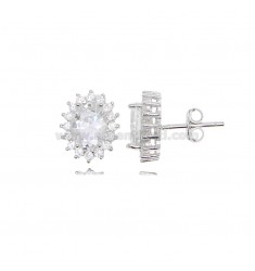 OVAL LOBE EARRINGS MM 12X10 KATE MODEL IN RHODIUM-PLATED SILVER TIT 925 ‰ AND WHITE ZIRCONS