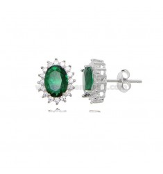 OVAL LOBE EARRINGS MM 12X10 KATE MODEL IN SILVER RHODIUM TIT 925 ‰ AND WHITE AND GREEN ZIRCONIA