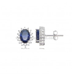 OVAL LOBE EARRINGS MM 12X10 KATE MODEL IN SILVER RHODIUM TIT 925 ‰ AND WHITE AND BLUE ZIRCONIA
