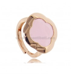RING IN ROSE SILVER 925 WITH HYDROTHERMAL STONE IN THE SHAPE OF A PINK FLOWER ADJUSTABLE SIZE