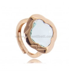 RING IN ROSE SILVER 925 WITH HYDROTHERMAL STONE IN THE SHAPE OF A LIGHT BLUE FLOWER ADJUSTABLE SIZE