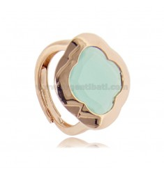 RING IN ROSE SILVER 925 WITH HYDROTHERMAL STONE IN THE SHAPE OF A GREEN FLOWER TIFFANY ADJUSTABLE SIZE