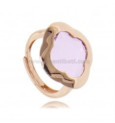 RING IN ROSE SILVER 925 WITH HYDROTHERMAL STONE IN THE SHAPE OF LILAC FLOWER ADJUSTABLE SIZE