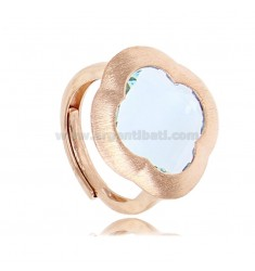RING IN SILVER SATIN ROSE 925 WITH HYDROTHERMAL STONE IN THE SHAPE OF A LIGHT BLUE FLOWER ADJUSTABLE SIZE