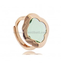 RING IN ROSE SILVER 925 WITH HYDROTHERMAL STONE IN THE SHAPE OF A GREEN FLOWER ADJUSTABLE SIZE