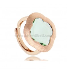 RING IN SILVER SATIN ROSE 925 WITH HYDROTHERMAL STONE IN THE SHAPE OF A GREEN FLOWER, ADJUSTABLE SIZE