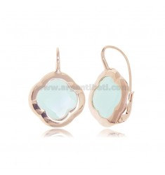 MONACHELLA EARRINGS IN 925 ROSE SILVER WITH HYDROTHERMAL STONE IN THE SHAPE OF A GREEN FLOWER TIFFANY