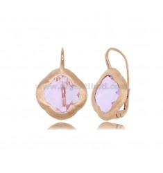 MONACHELLA EARRINGS IN SILVER SATIN ROSE 925 WITH HYDROTHERMAL STONE IN THE SHAPE OF A LILAC FLOWER