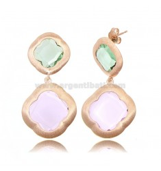 DOUBLE FLOWER EARRINGS IN 925 SATIN ROSE SILVER WITH GREEN AND LILAC HYDROTHERMAL STONES