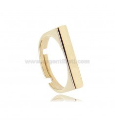 RECTANGULAR RING MM 20X3.5 IN SILVER GOLDEN TIT 925 ADJUSTABLE SIZE