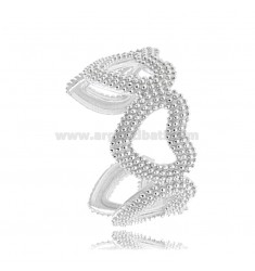 DOTTED HEARTS SHAPES RING IN RHODIUM-PLATED SILVER TIT 925 ADJUSTABLE SIZE