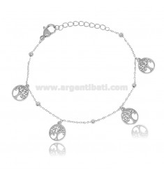BRACELET WITH TREES OF LIFE AND STRASS IN STEEL 18 CM