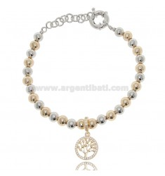 BRACELET WITH BALLS 6 MM AND TREE OF LIFE IN TWO-TONE STEEL AND STRASS 18 CM