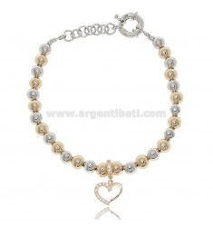BRACELET WITH 6 MM BALLS AND BICOLORED STEEL HEART AND 18 CM STRASS