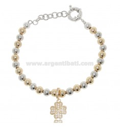 BRACELET WITH BALLS 6 MM AND FOUR LEAF CLOVER IN TWO-TONE STEEL AND STRASS 18 CM