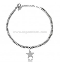 BRACELET WITH WASHERS AND STAR IN STEEL 18 CM