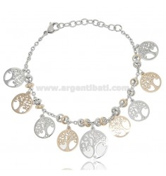 BRACELET WITH TREES OF LIFE AND STRASS BICOLORED STEEL 18 CM