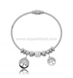 RIGID BRACELET WITH SPHERES AND TREES OF LIFE IN STEEL AND RHINESTONES