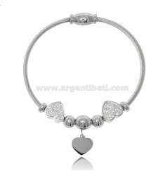 RIGID BRACELET WITH STEEL AND RHINESTONES SPHERES AND HEARTS