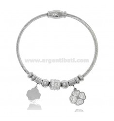 RIGID BRACELET WITH STEEL AND RHINESTONES SPHERES AND FOUR-LEAVES