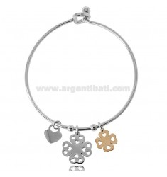 RIGID BRACELET WITH TWO-TONE STEEL FOUR-LEAVES