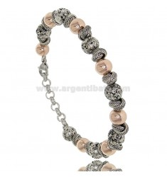 BRACELET WITH MACHINED BALLS MM 8 IN TWO-TONE STEEL 21 CM
