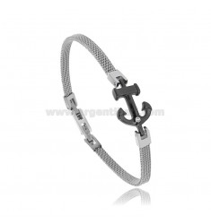 BRACELET WITH STAINLESS STEEL BICOLOR AND RHINESTONES