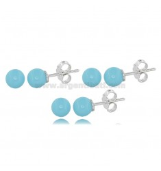 3 PAIRS BALL EARRINGS MM 6 IN TURQUOISE PASTE AND RHODIUM-PLATED SILVER TIT 925