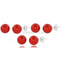 3 PAIRS BALL EARRINGS MM 10 IN RED CORAL PASTE AND RHODIUM-PLATED SILVER TIT 925