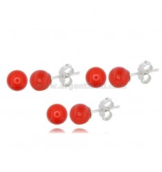 3 PAIRS BALL EARRINGS MM 6 IN RED CORAL PASTE AND RHODIUM-PLATED SILVER TIT 925