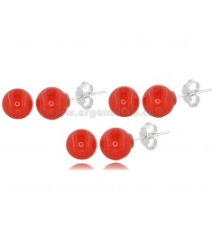 EARRINGS 3 PAIRS BALL MM 8 IN CORAL PASTE AND RHODIUM-PLATED SILVER TIT 925