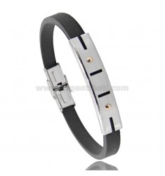 BLACK RUBBER BRACELET WITH PERFORATED PLATE IN STEEL ARCHES WITH BILAMINE BRASS AND GOLD VITINS