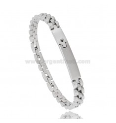 BRACELET WITH PLATE AND ZIRCON IN STEEL 20 CM