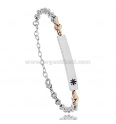 BRACELET WITH PLATE AND ROSE OF THE WINDS IN TWO-TONE STEEL 20 CM