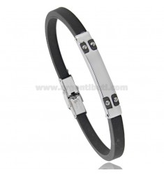 BRACELET WITH RUBBER PLATE AND TWO-TONE STEEL 20 CM