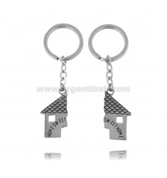 DIVISIBLE KEY RING WITH HOUSE IN STEEL AND ENAMEL