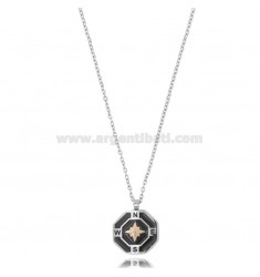 CABLE CHAIN CM 50 WITH ROSE OF THE WIND PENDANT IN TWO-TONE STEEL