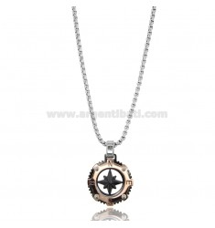 VENETIAN CHAIN CM 50 WITH ROSE OF THE WIND PENDANT IN TWO-TONE STEEL