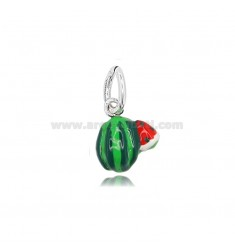 WATERMELON PENDANT MM 13X12 IN MICRO-CAST AND BURNISHED SILVER 925 TIT AND ENAMEL