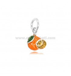ORANGE PENDANT MM 14X12 IN MICRO-CAST AND BURNISHED SILVER 925 TIT AND ENAMEL