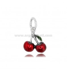 CHERRY CHARM 17X14 MM IN MICRO-CAST AND BURNISHED SILVER TIT 925 AND ENAMEL