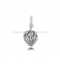 STRAWBERRY PENDANT MM 18X12 IN MICRO-CAST AND BURNISHED SILVER TIT 925