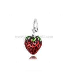 STRAWBERRY PENDANT MM 18X12 IN MICRO-CAST AND BURNISHED SILVER 925 TIT AND ENAMEL