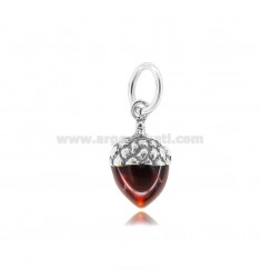 GLAND PENDANT MM 18X11 IN MICRO-CAST AND BURNISHED SILVER 925 TIT AND ENAMEL