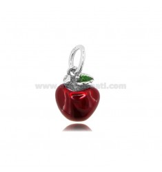 APPLE PENDANT MM 15X12 IN MICRO-CAST AND BURNISHED SILVER 925 TIT AND ENAMEL