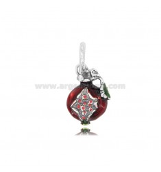 POMEGRANATE PENDANT MM 16X12 IN MICRO-CAST AND BURNISHED SILVER TIT 925 AND ENAMEL