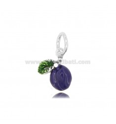 PLUM PENDANT MM 15X13 IN MICRO-CAST AND BURNISHED SILVER TIT 925 AND ENAMEL