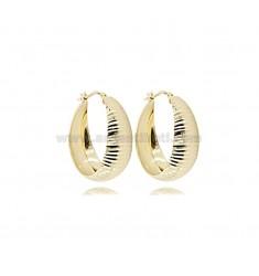 HOOP EARRINGS DIAMETER 25 DIAMOND PLATE DEGRADE 9 MM SILBER GOLDEN TIT 925