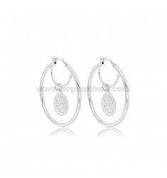 HOOP EARRINGS ROUND BARREL MM 2 DIAMETER 30 WITH COIN PENDANT SILVER RHODIUM TIT 925